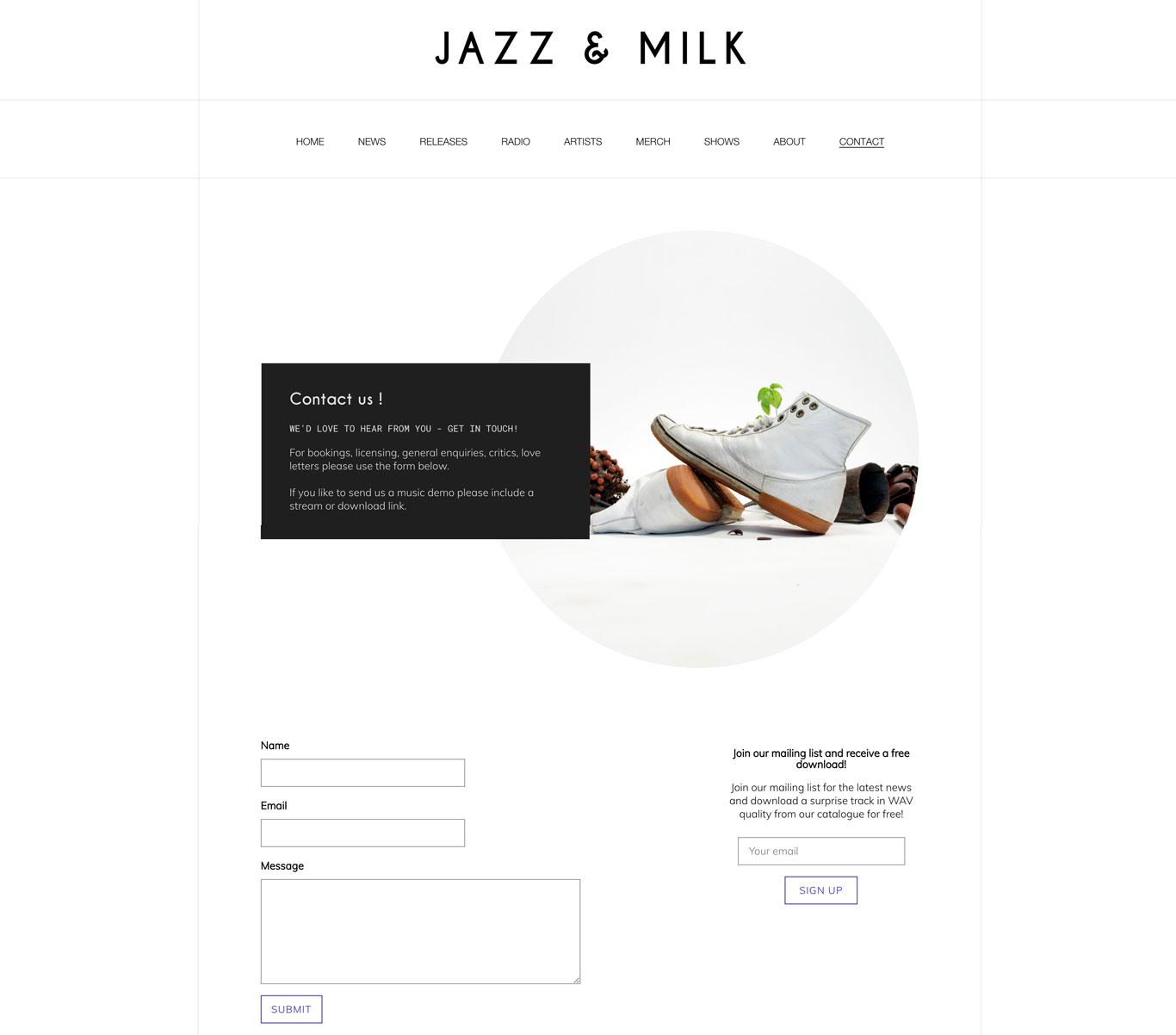 Jazz and Milk Record label website