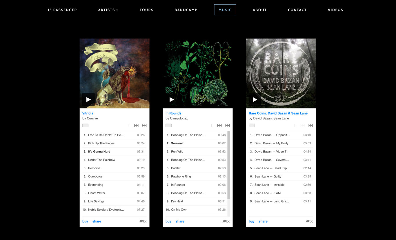 15 Passenger Record Label Website