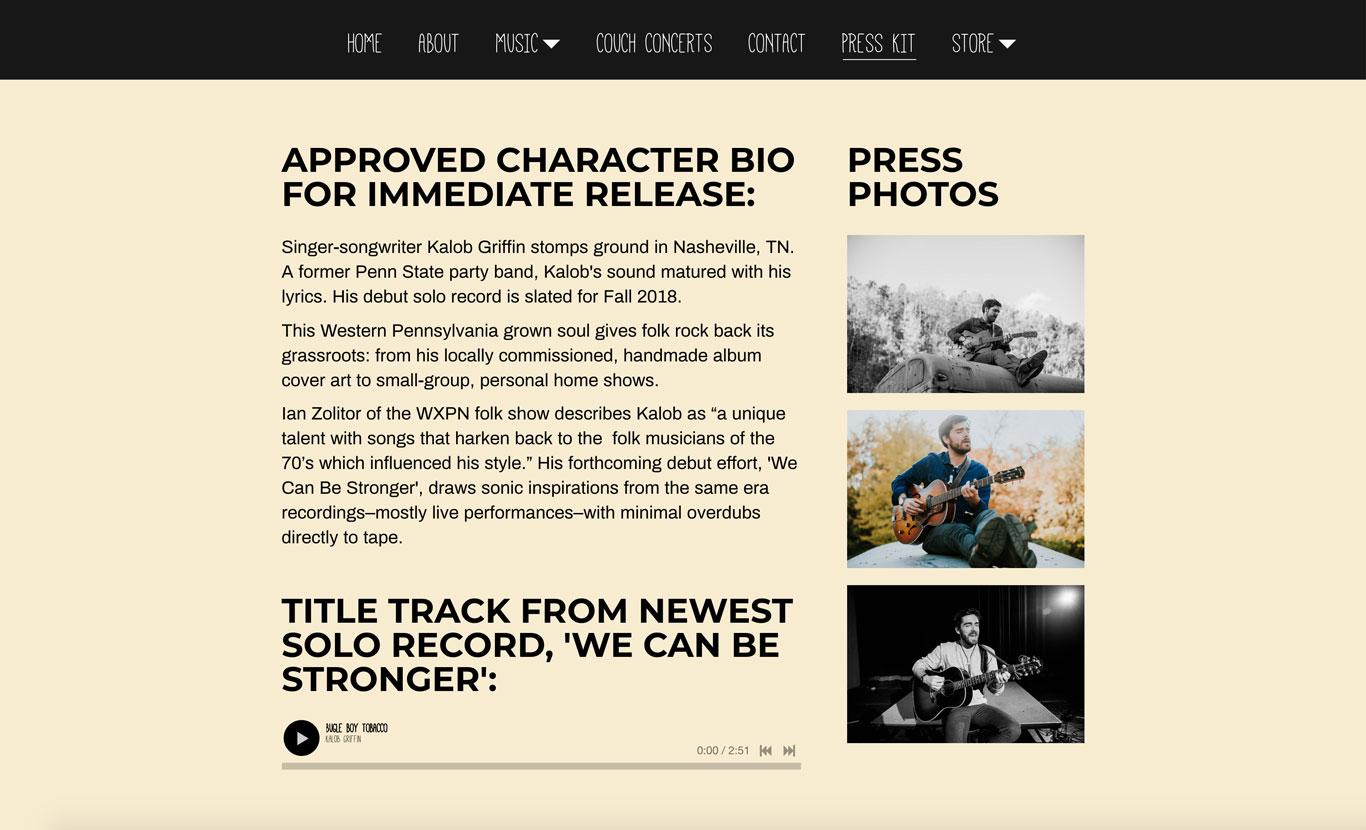 Kalob Griffin Musician Electronic Press Kit