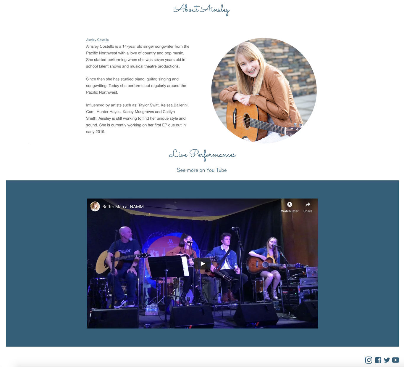 EPK example musician Ainsley Costello