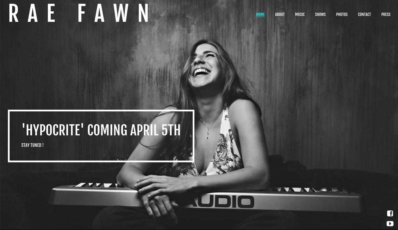 Rae Fawn singer songwriter website design