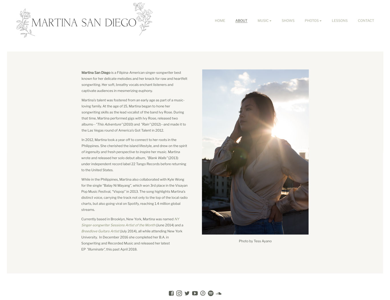 Martina San Diego Singer Songwriter website design