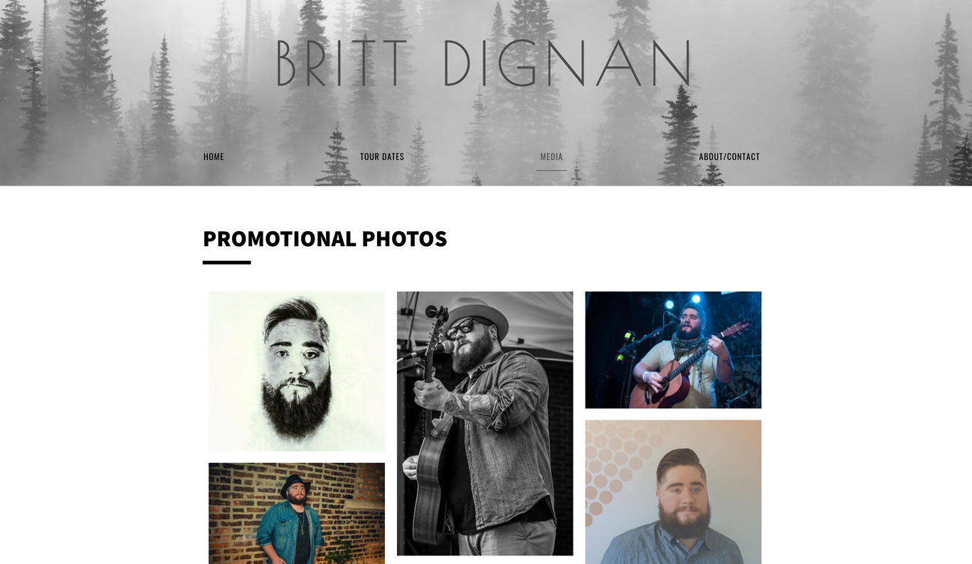 Britt Dignan Singer songwriter Website Design