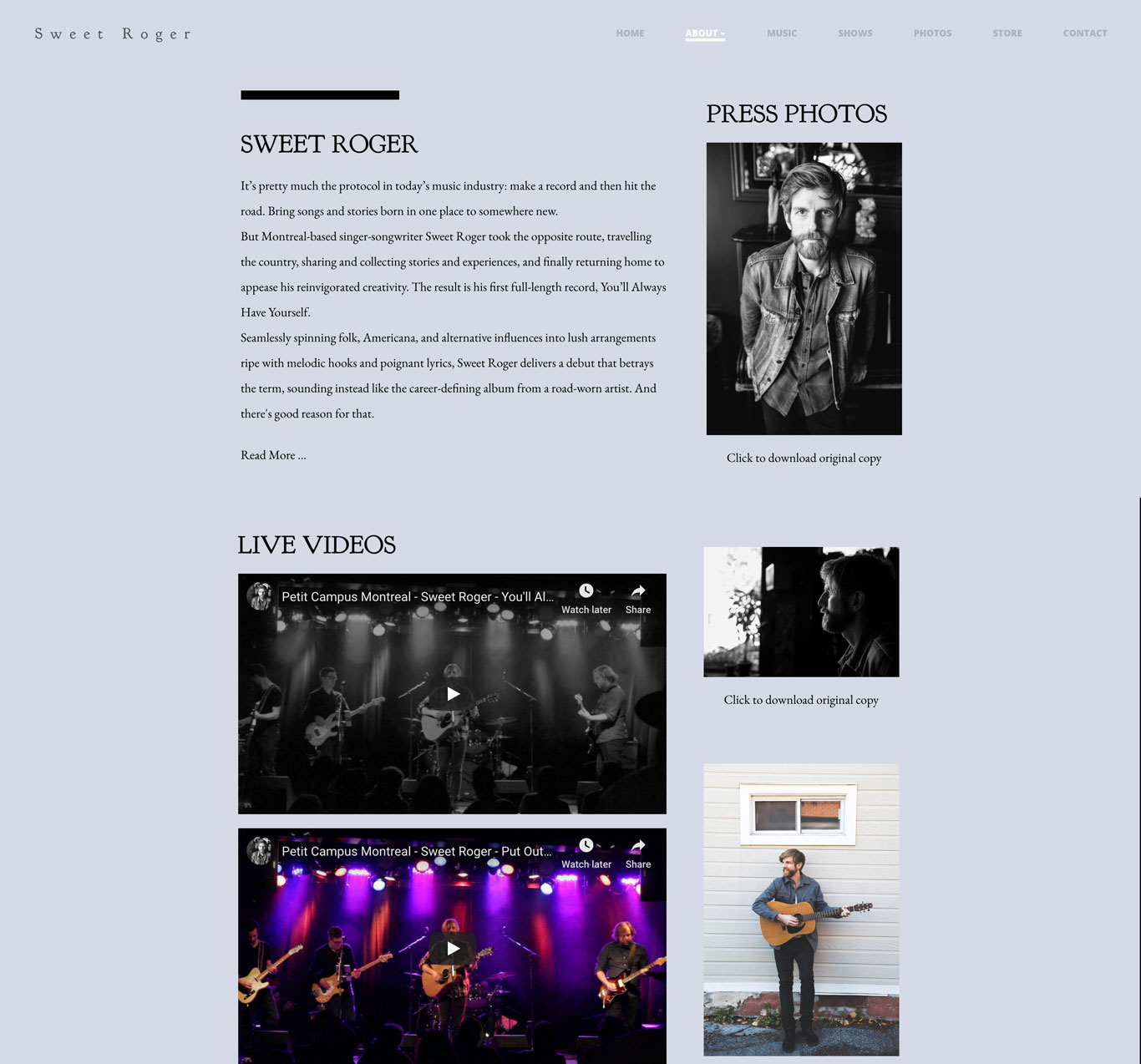 Sweet Roger singer songwriter website design