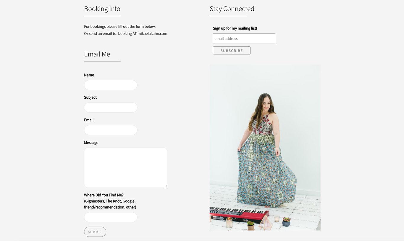 Mikaela Kahn singer songwriter website design