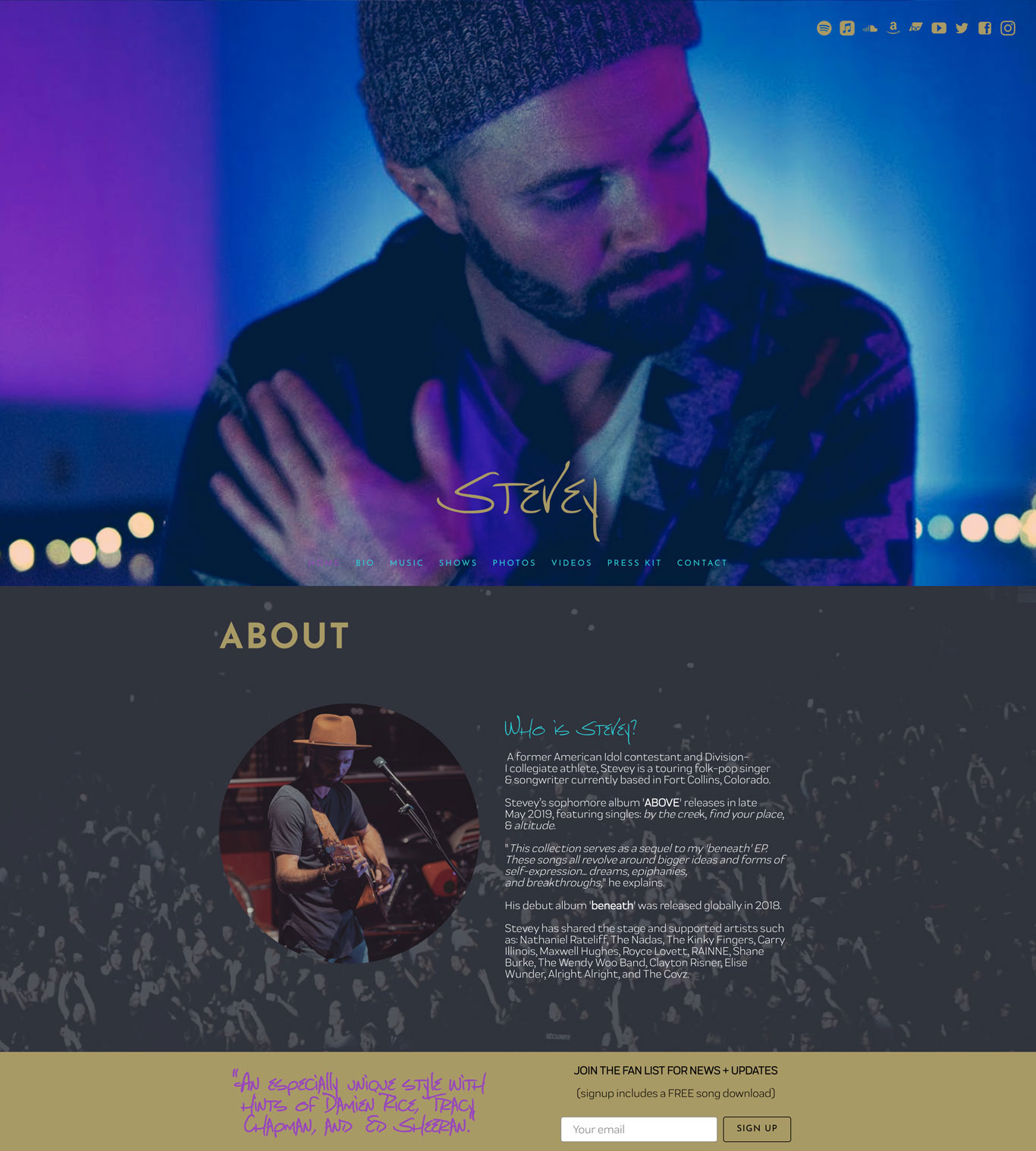 Music website home page example section backgrounds