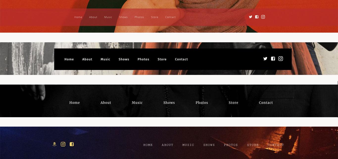 Music website template menu options