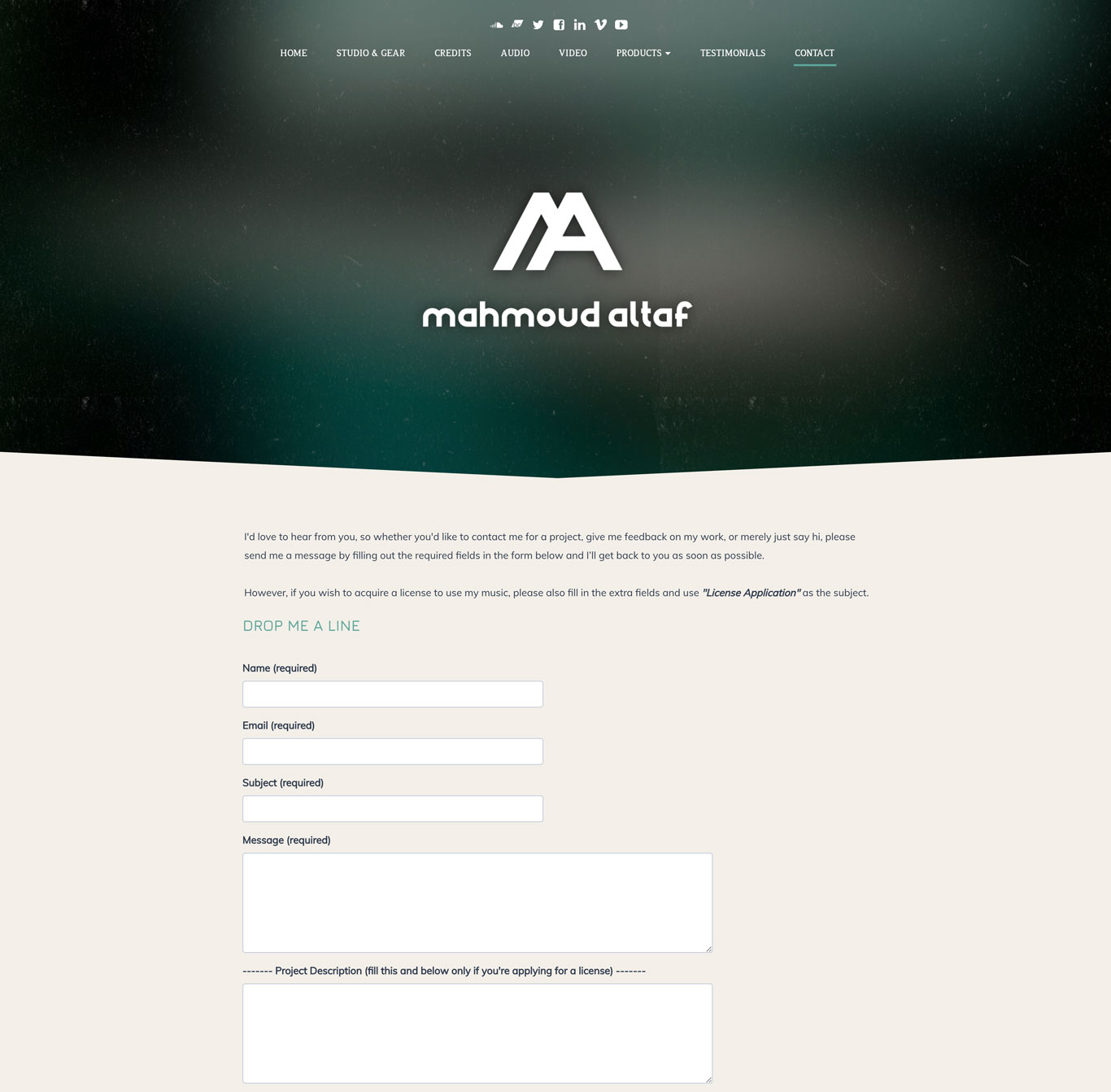 Licensing music composer website example