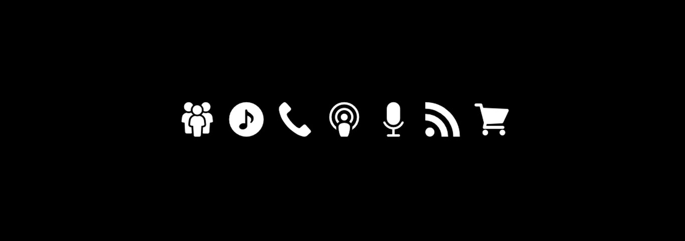 Music website generic social media icons