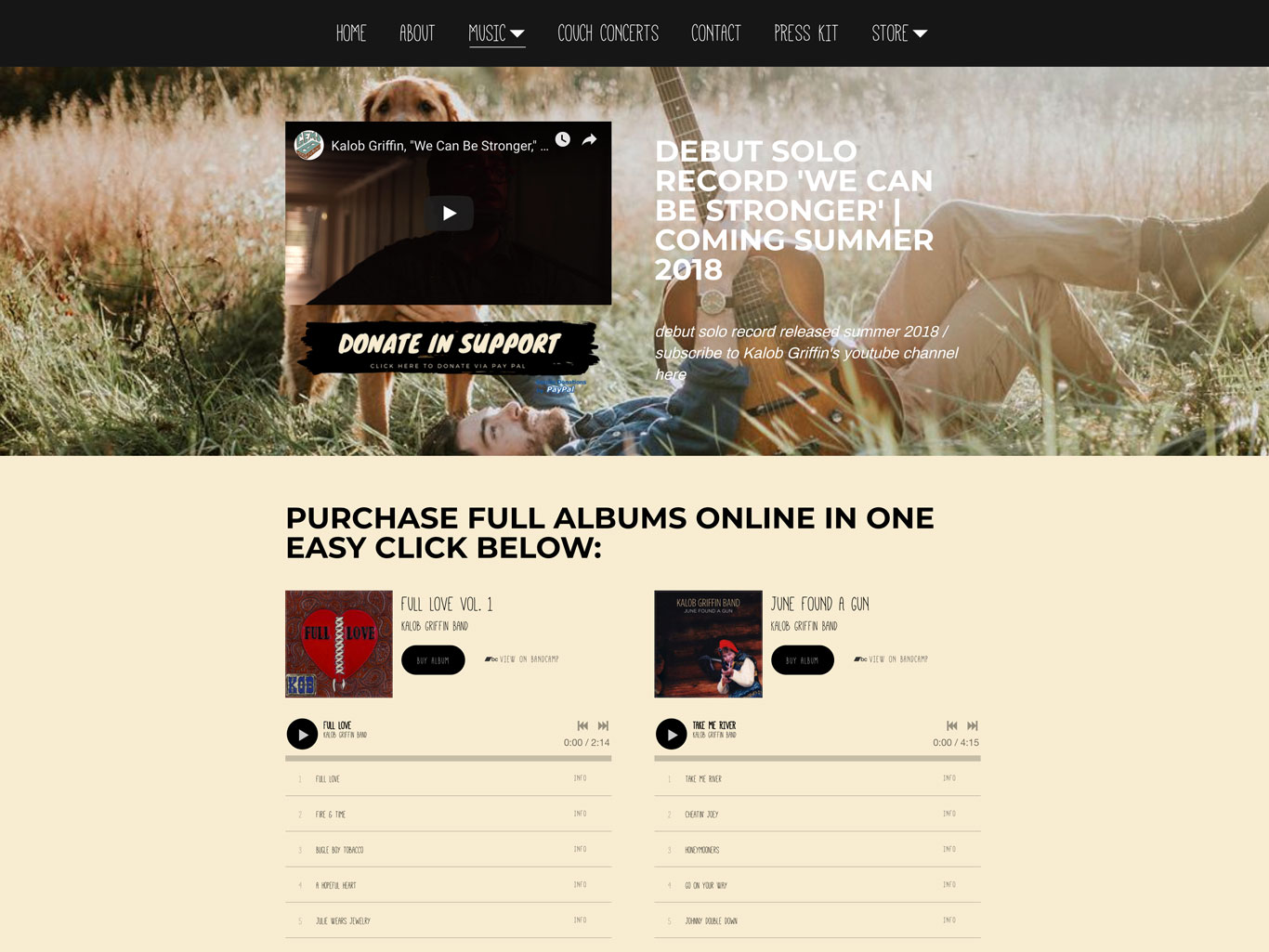 Kalob Griffin music website page example