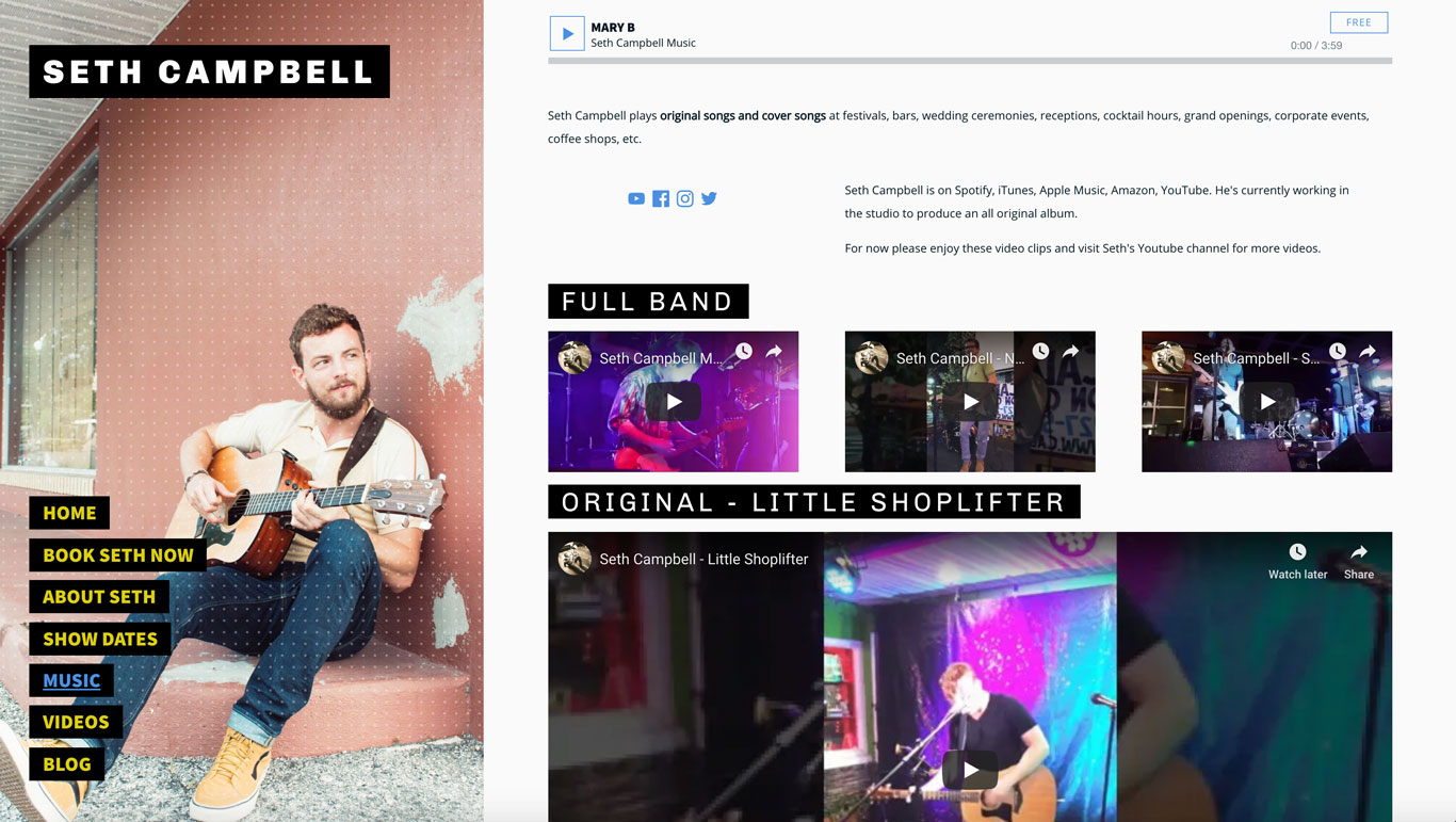 Music website page Seth Campbell