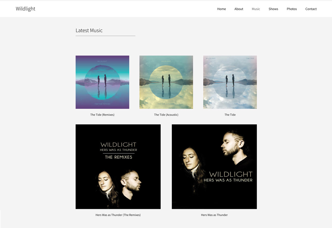 Wildlight band music page example