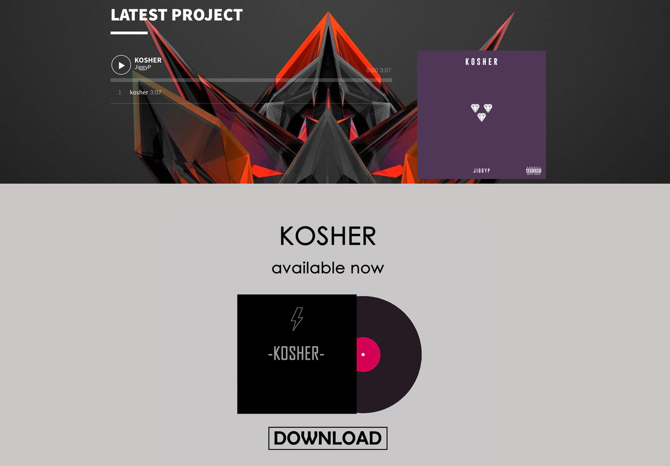 Music website design page example