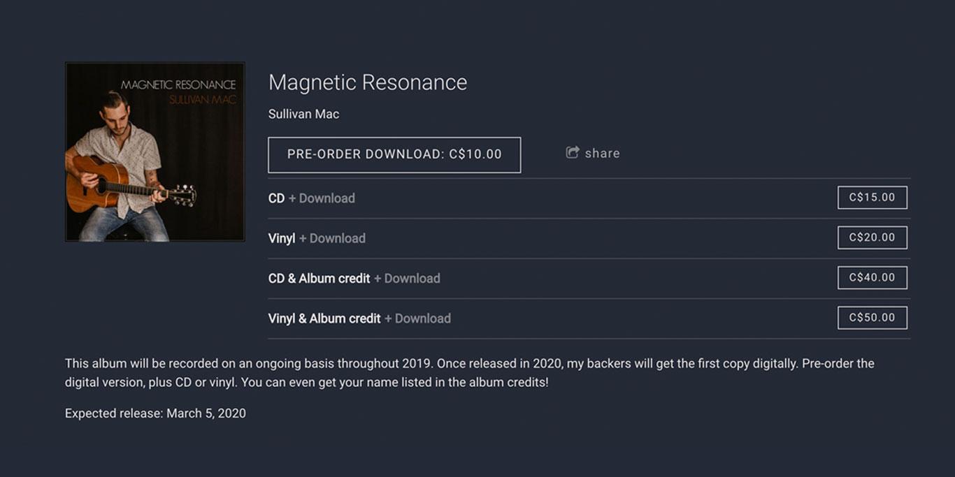Take album pre-orders - crowdfunding music