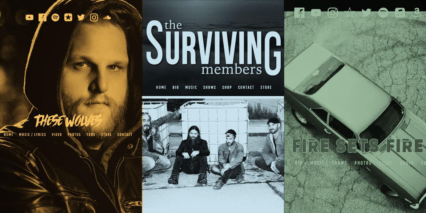 Rock band website design: 1 template, 3 ways