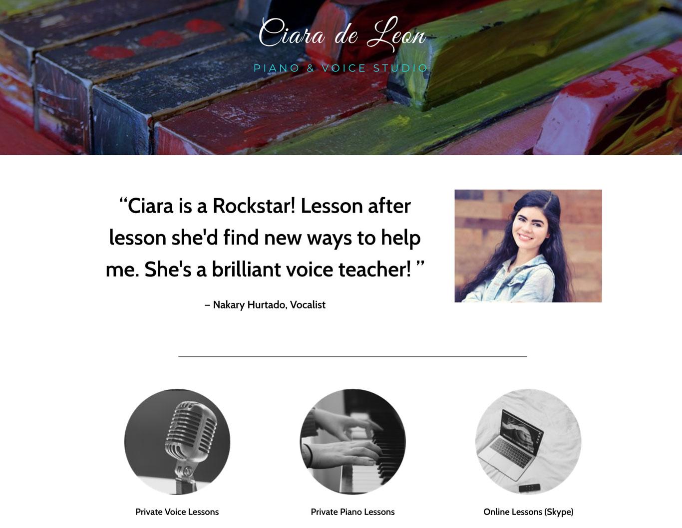 Music teacher website design example