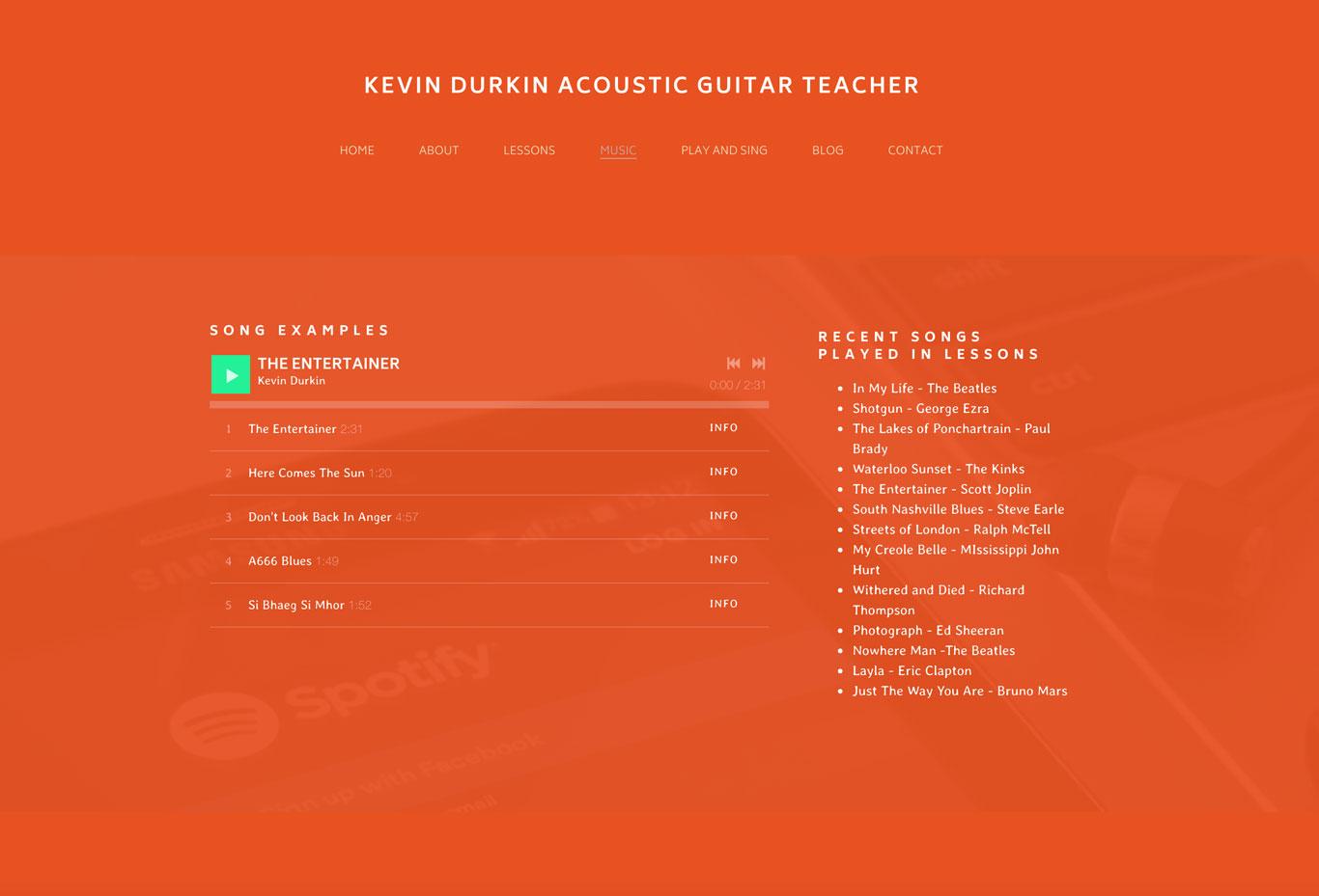Guitar teacher website example