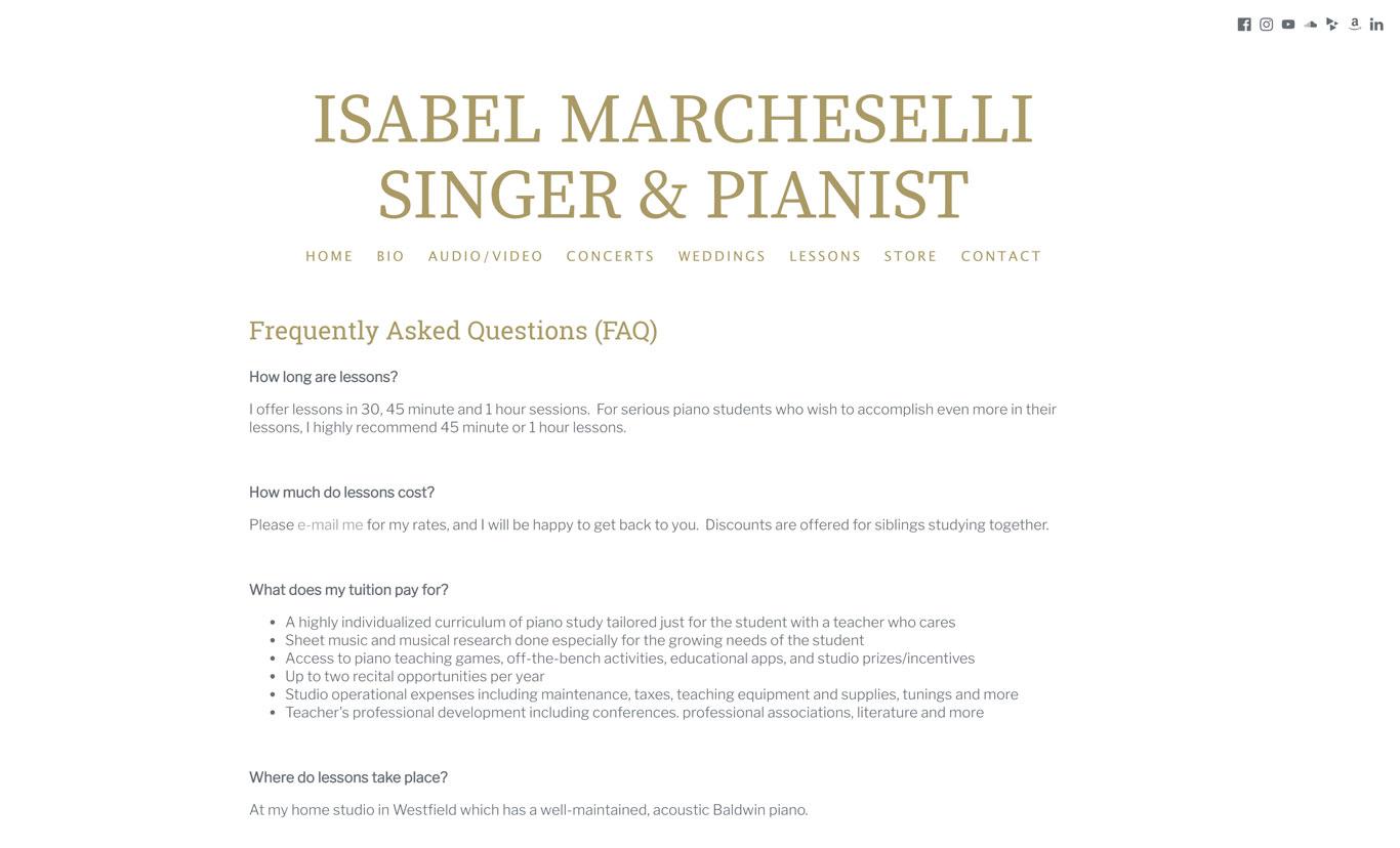 Music teacher website FAQs