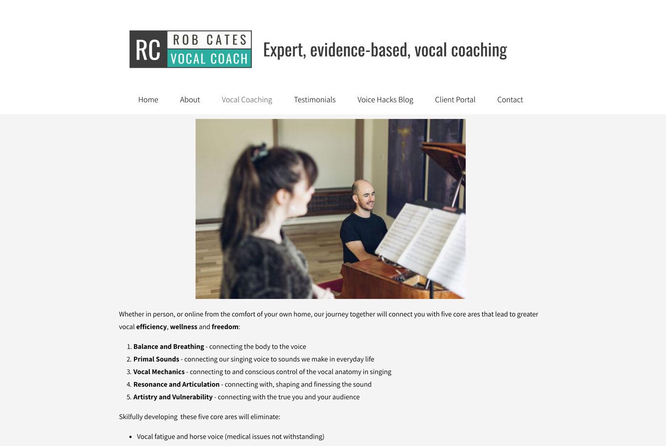 Voice teacher website example