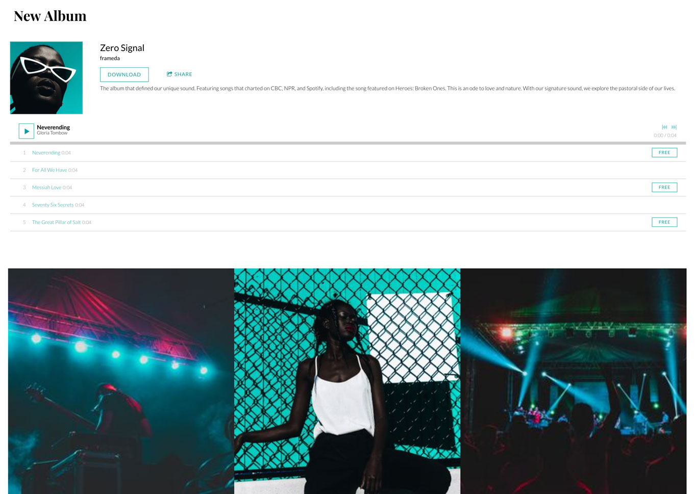 Music website template example content