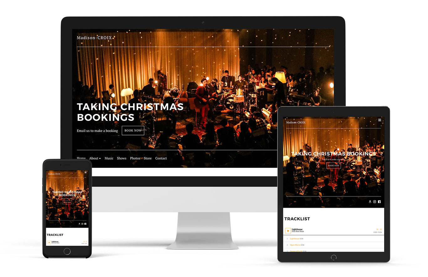 Music website for wedding band example