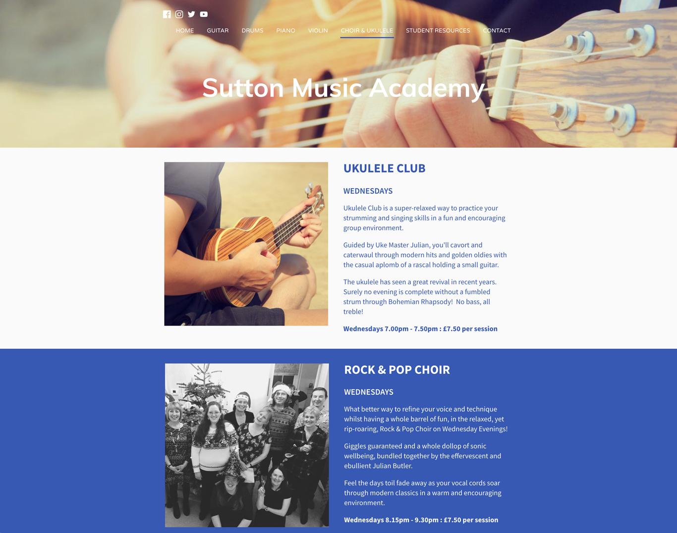 Music school website example