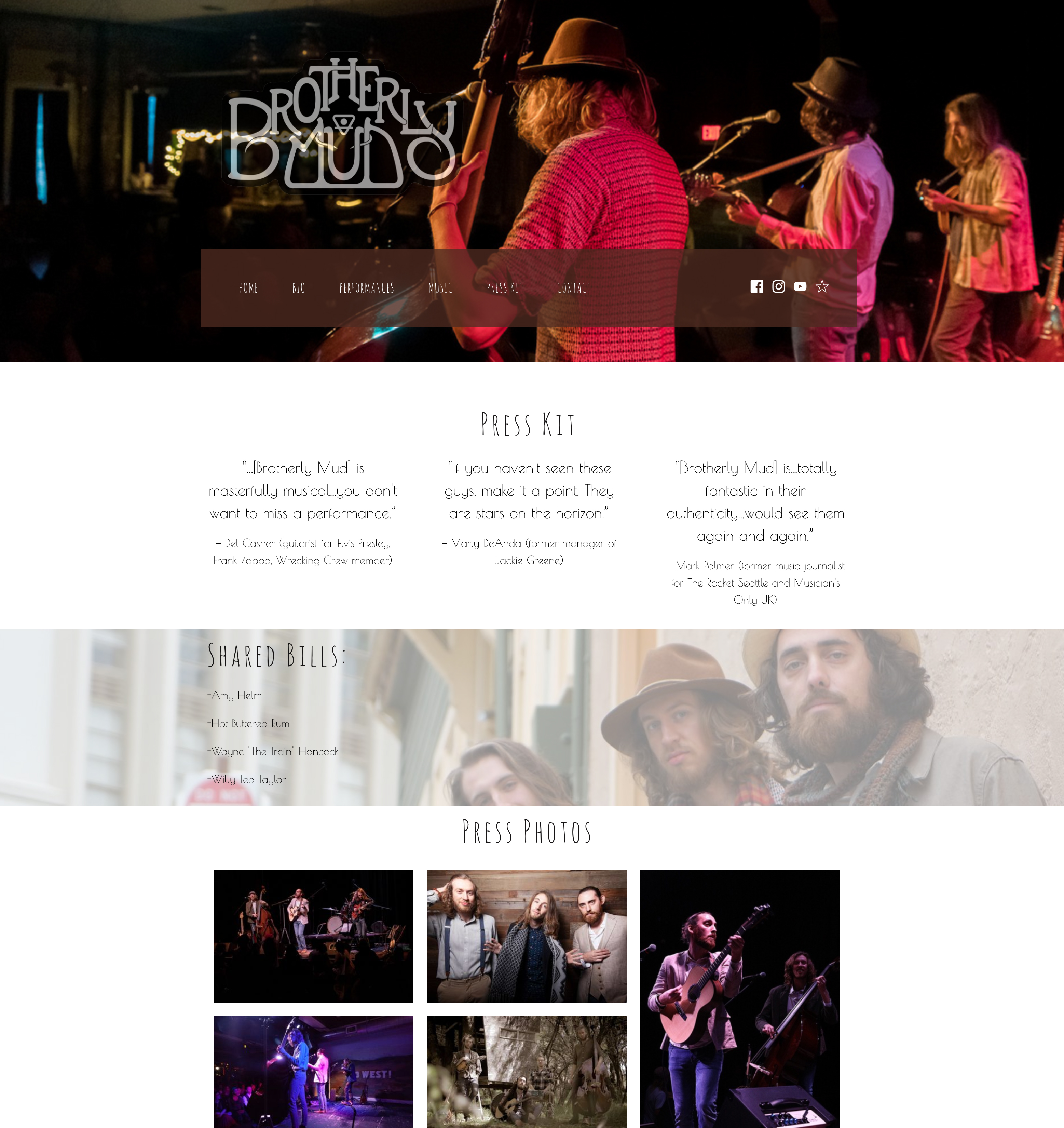 Music website press kit example