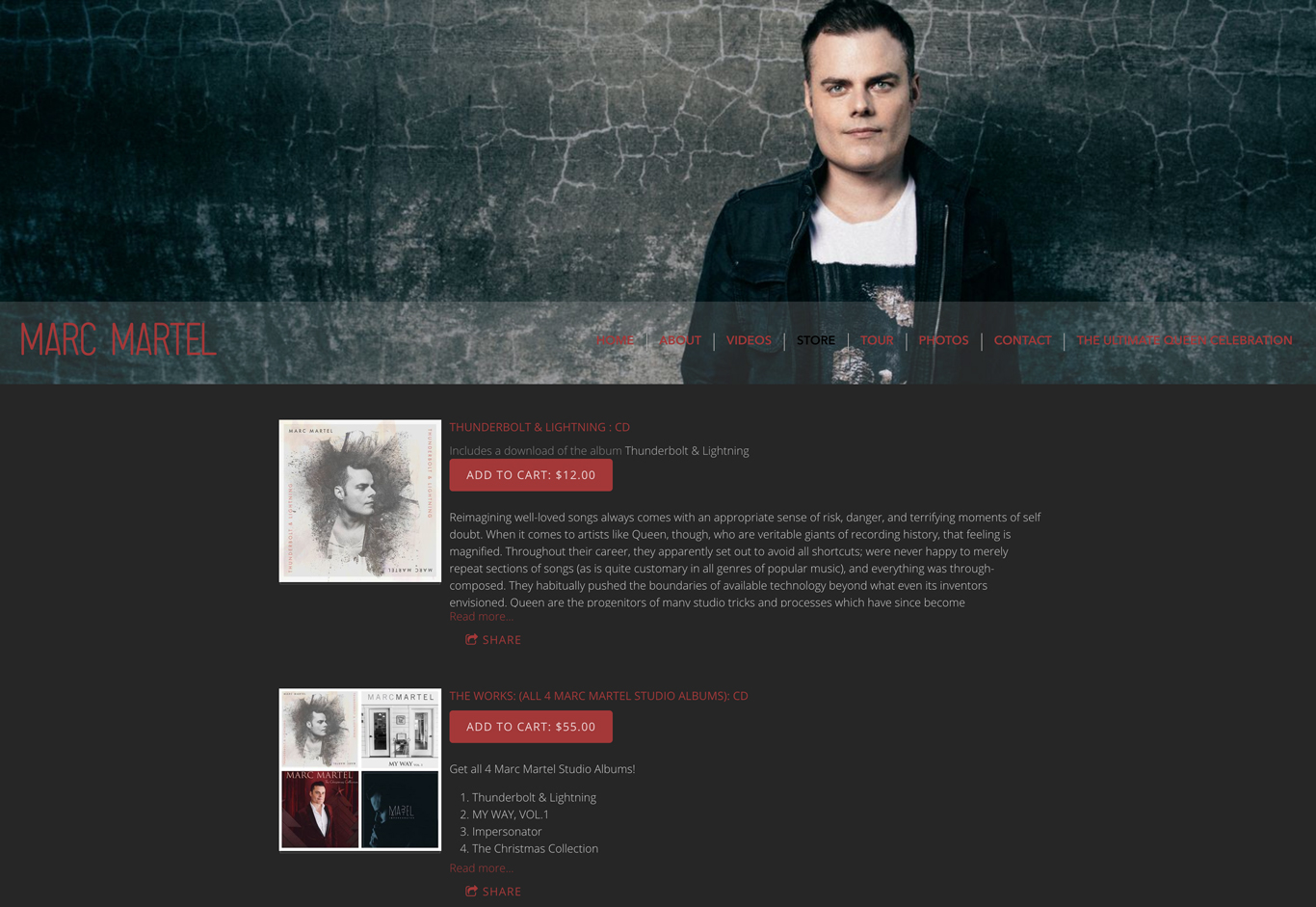 Music website example direct to fan sales