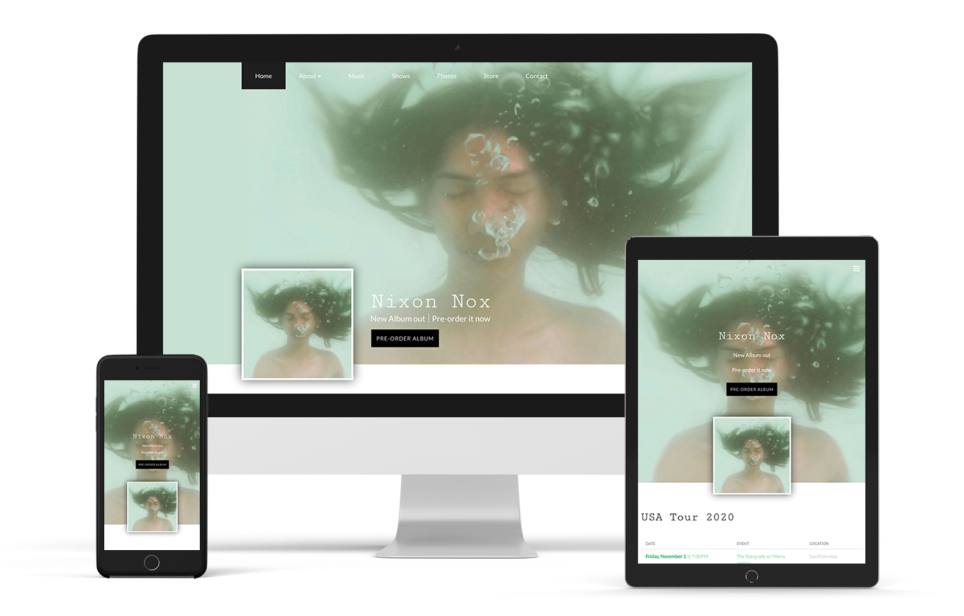 Music website template example Filter