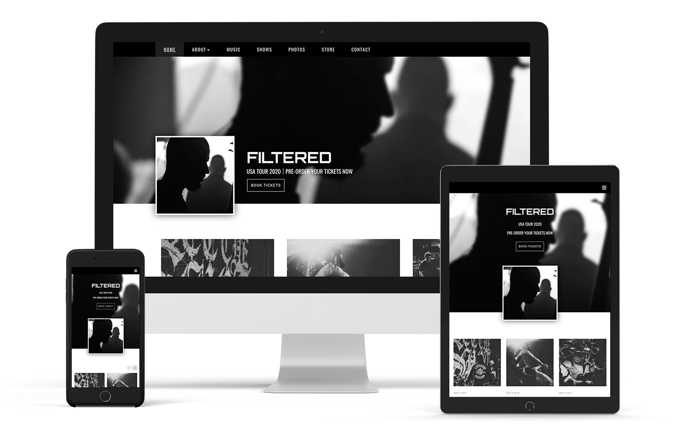 Band website template rock music example