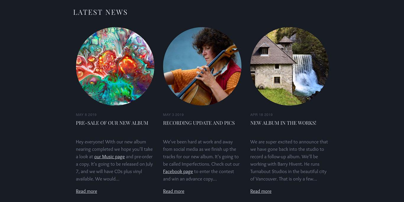 Music website blog image ratios