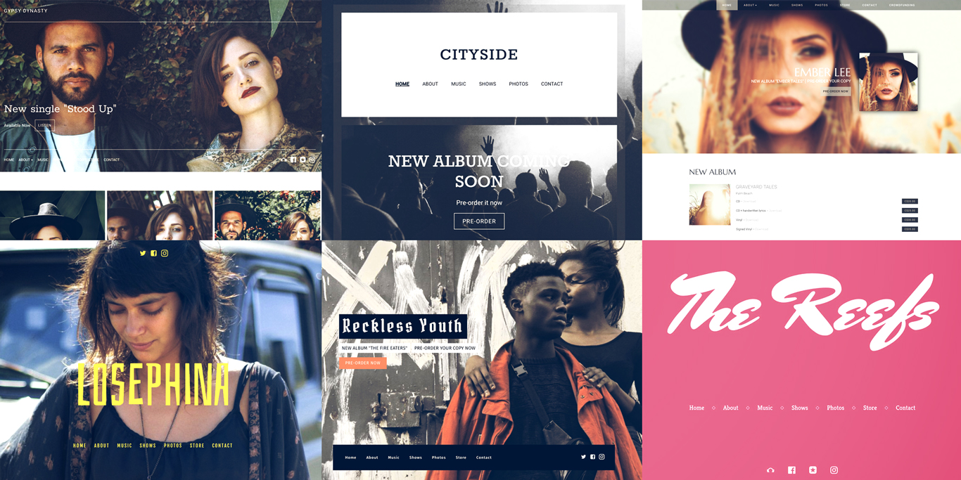 16 website templates for musicians and bands