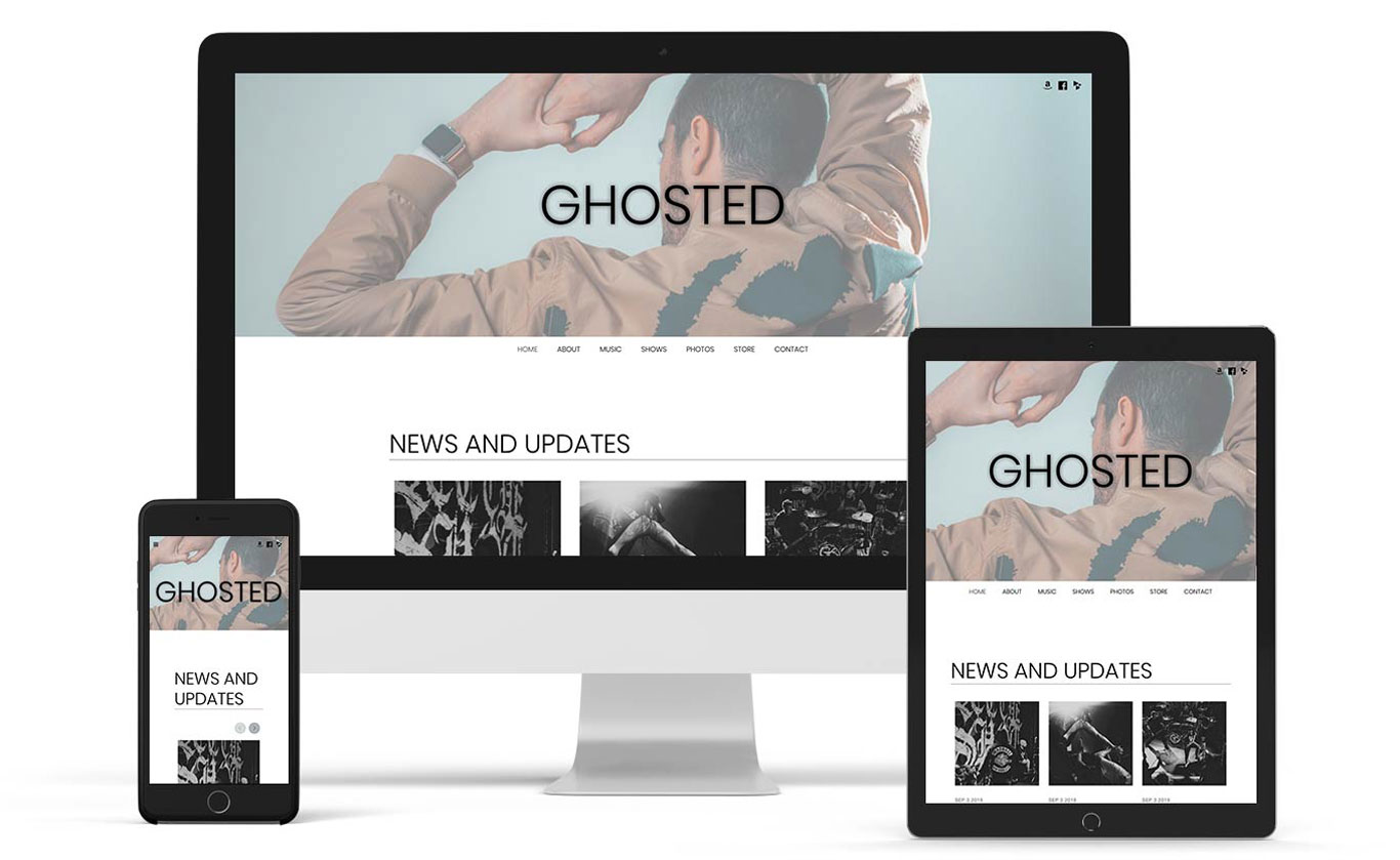 Music website template example Ghost Note