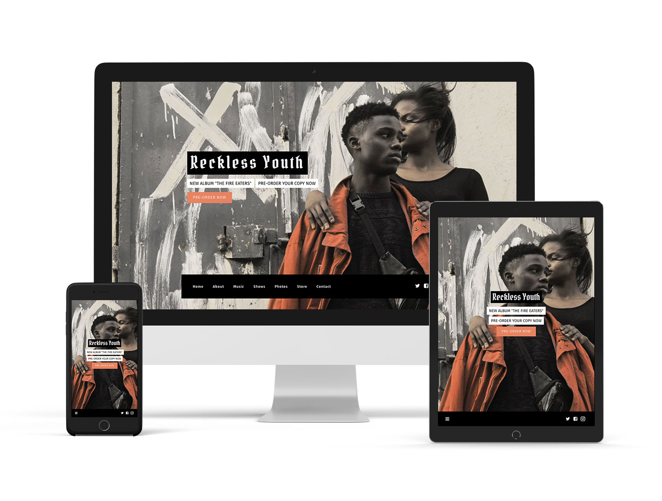 Band website template example Marquee