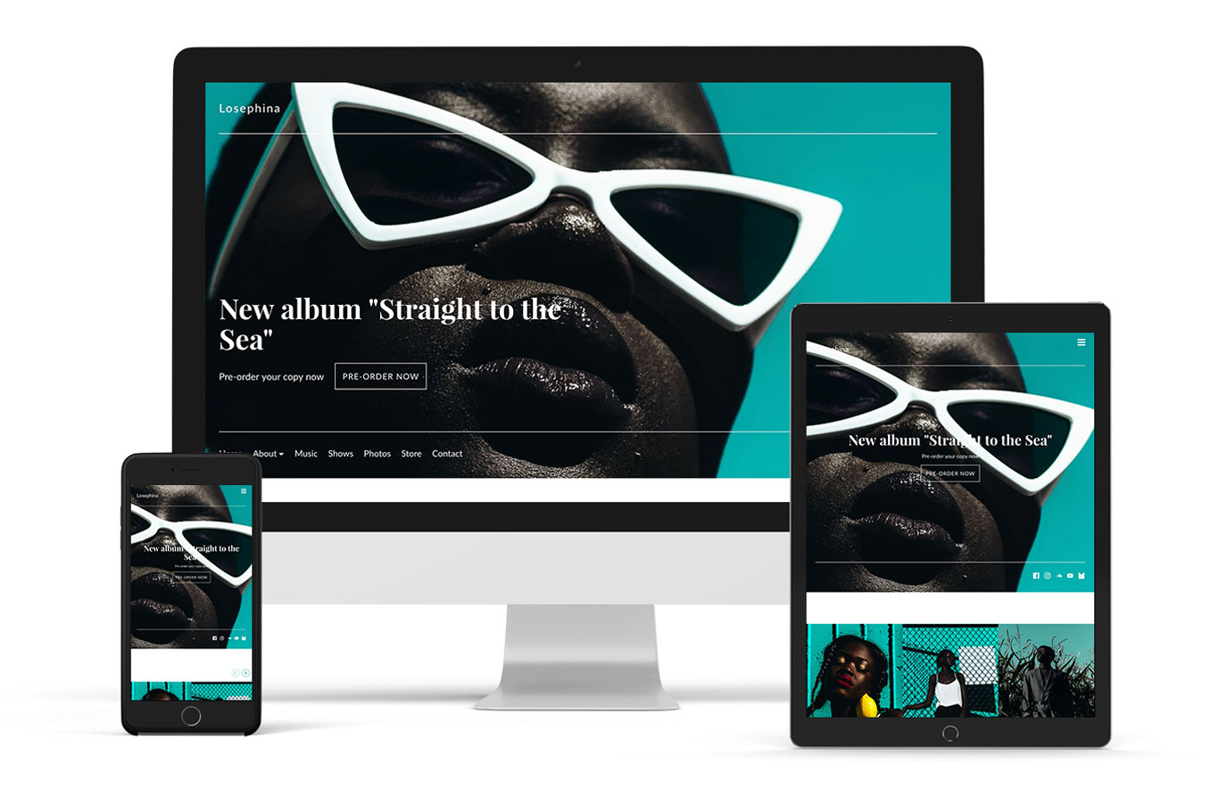 Band website template example Frontier