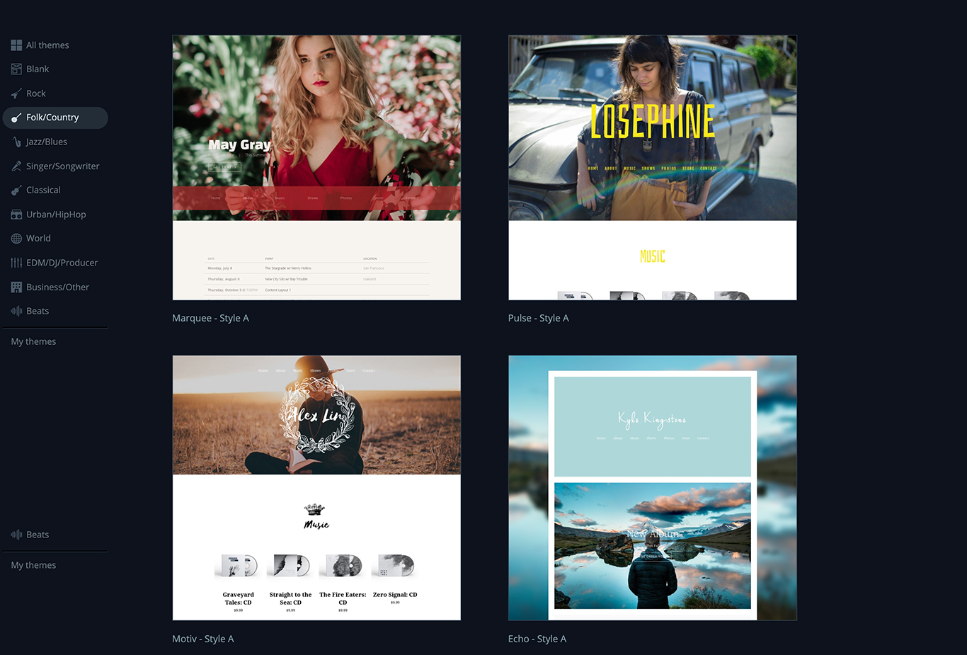 Choose a Music Website Template