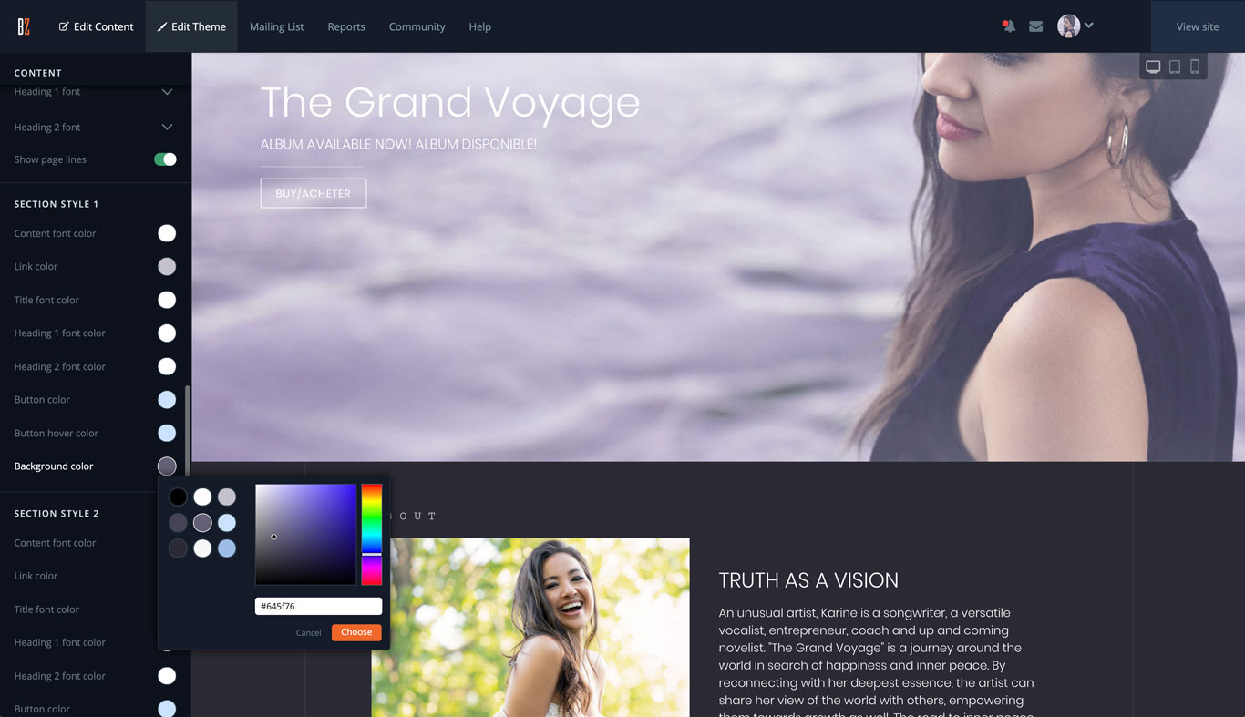 Website template color palette