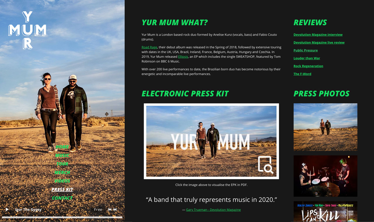 Electronic Press Kit example
