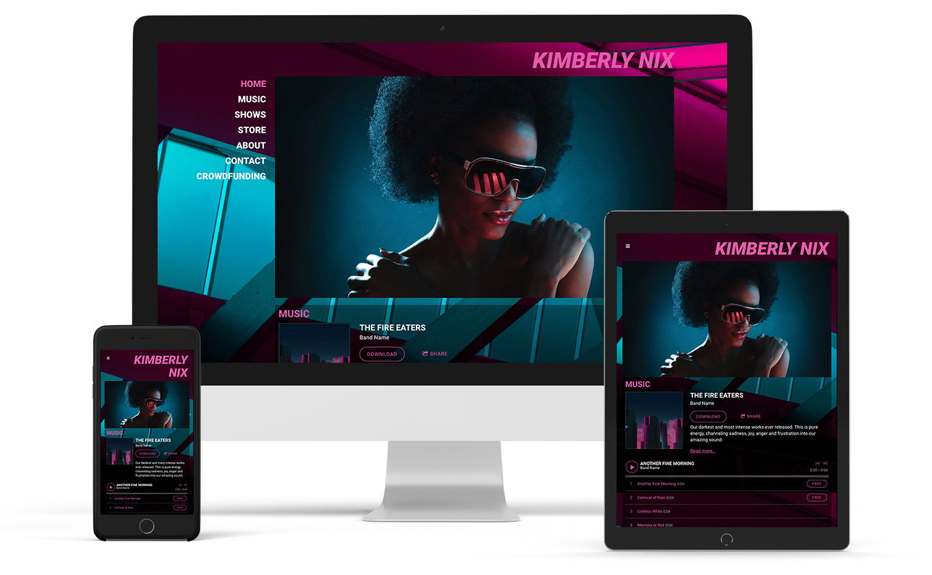 Music website template with side menu