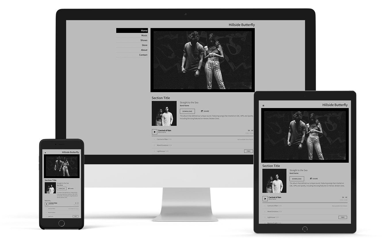 Music website template sombre version