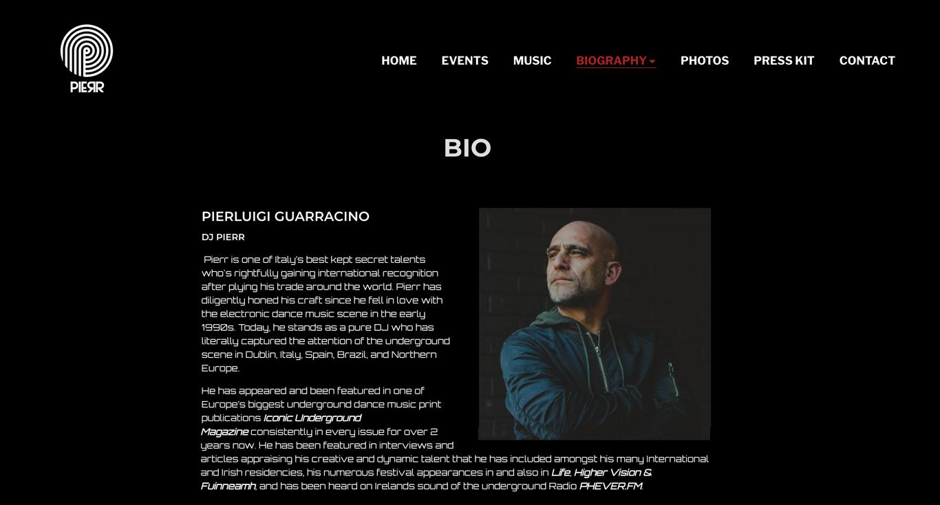 Build a DJ website with bio page