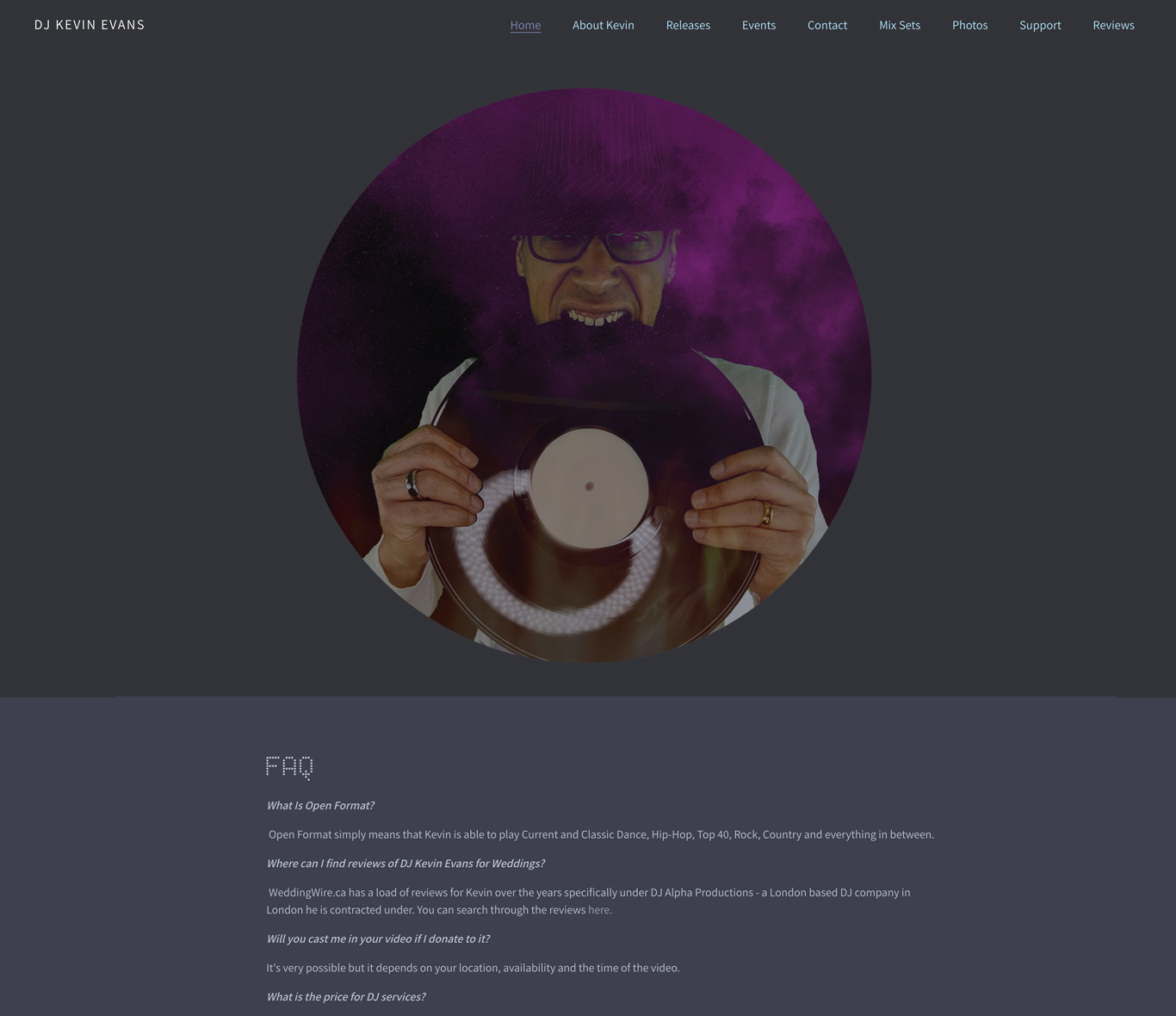 DJ website with FAQ page