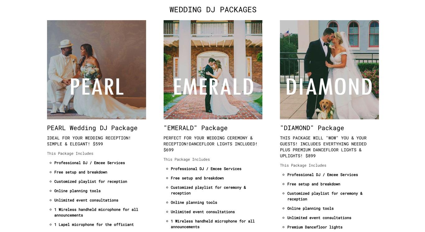 DJ website package examples