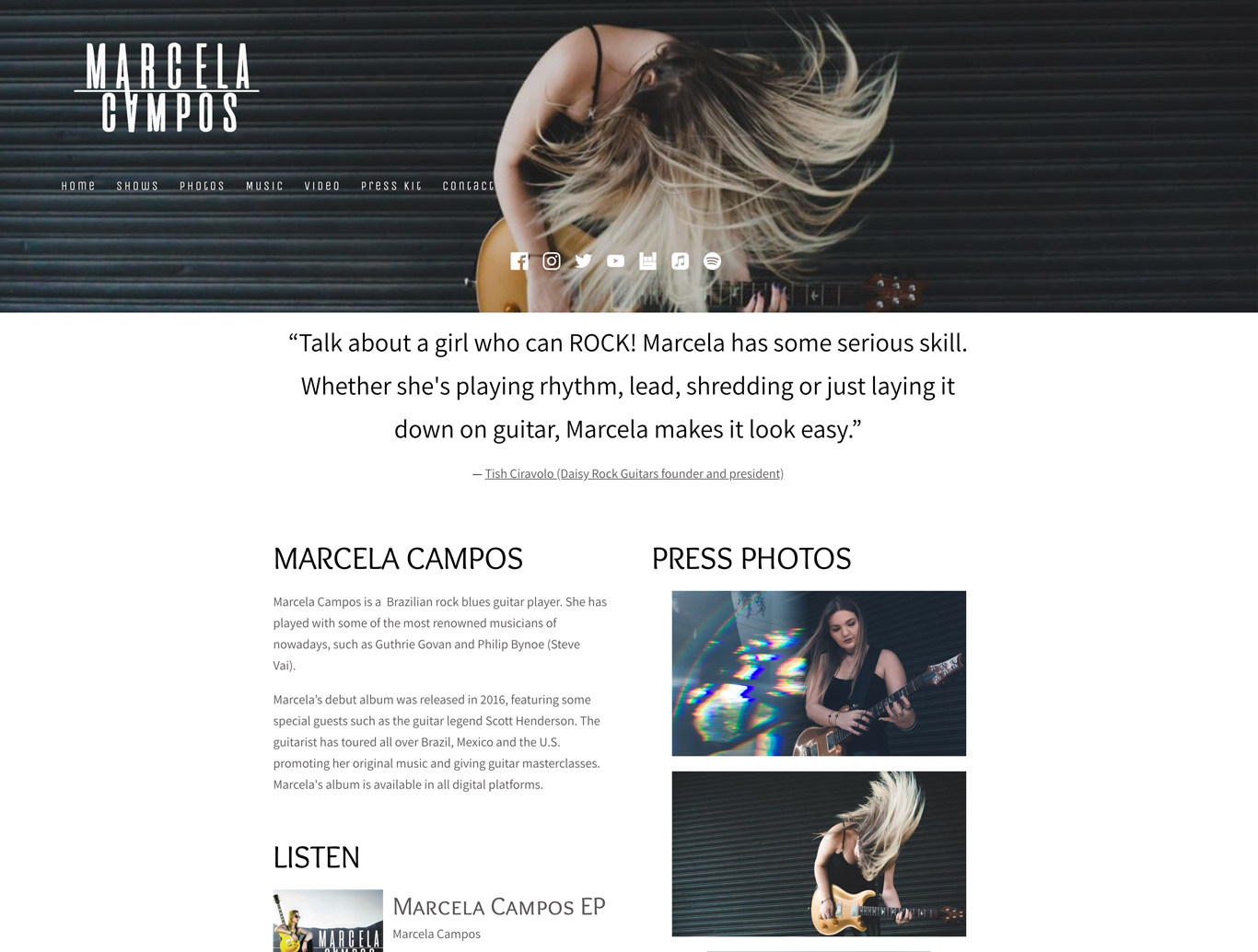 Best music website designs EPK page example