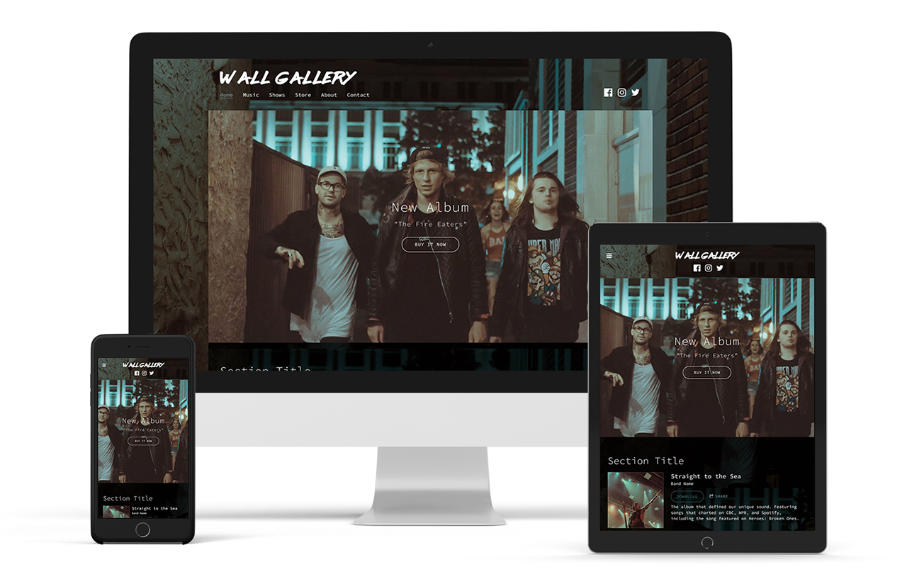 Sombre music website template: Entourage