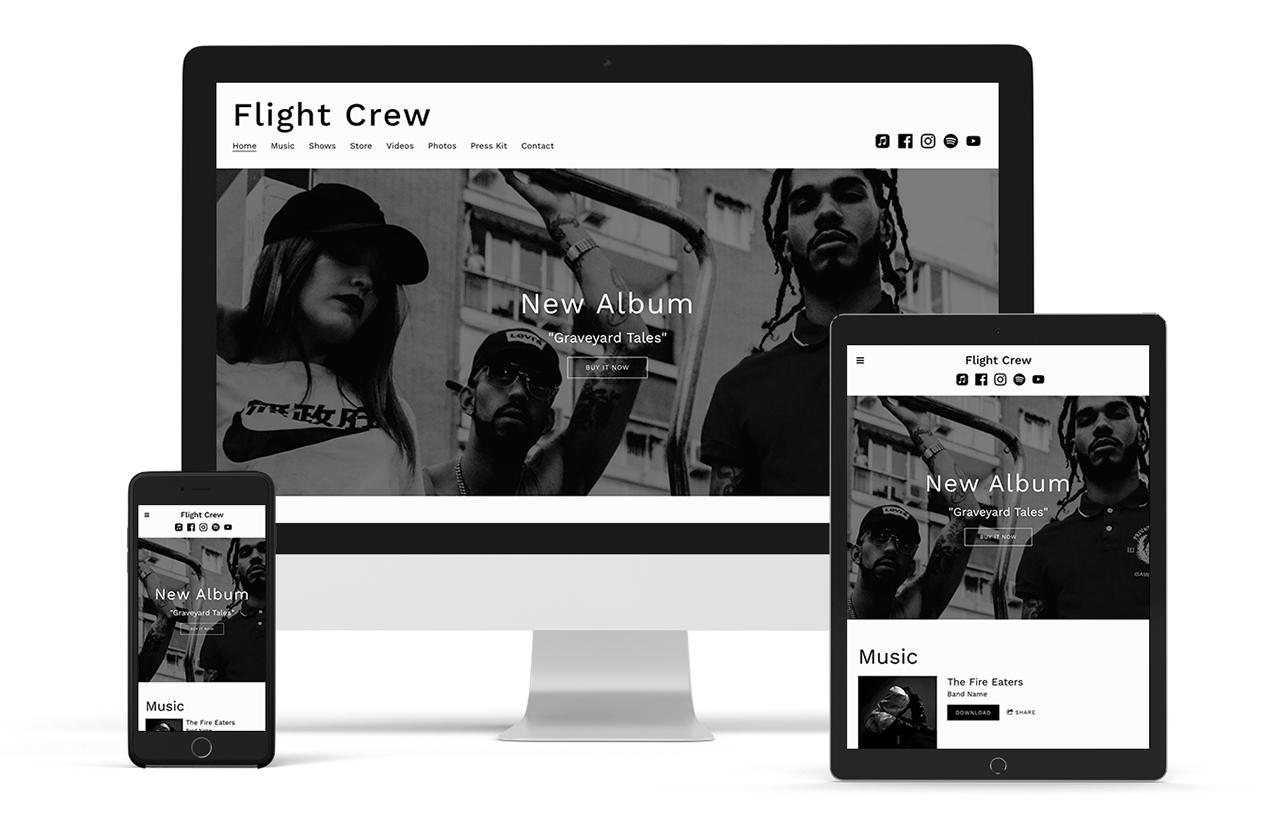 Neutral music website template: Entourage