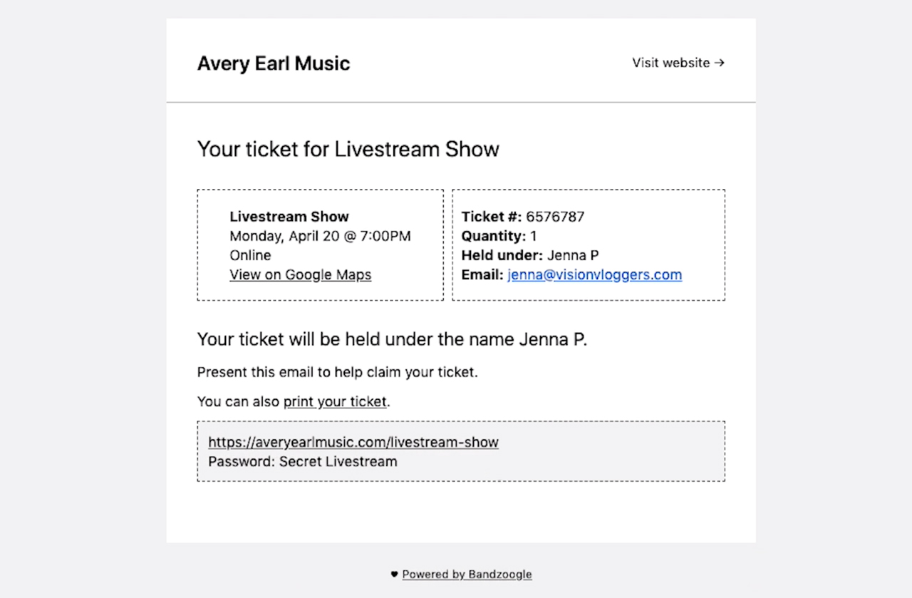 How to sell tickets to live streaming events ticket example