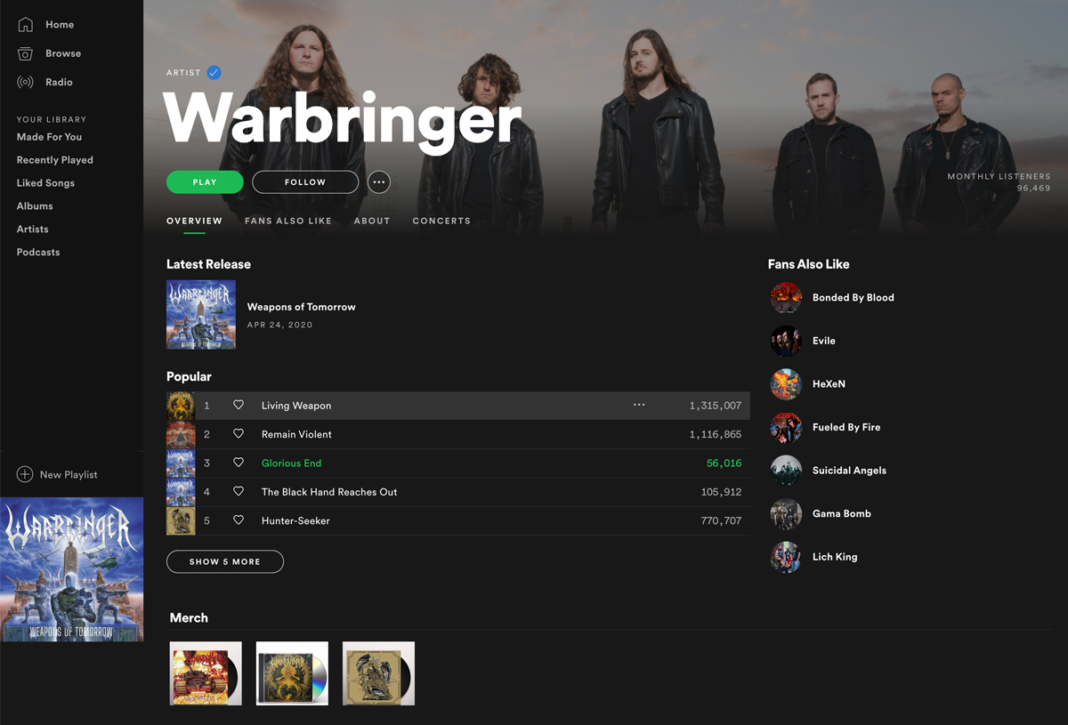 Make your music available for streaming - Bandzoogle members Warbringer on Spotify