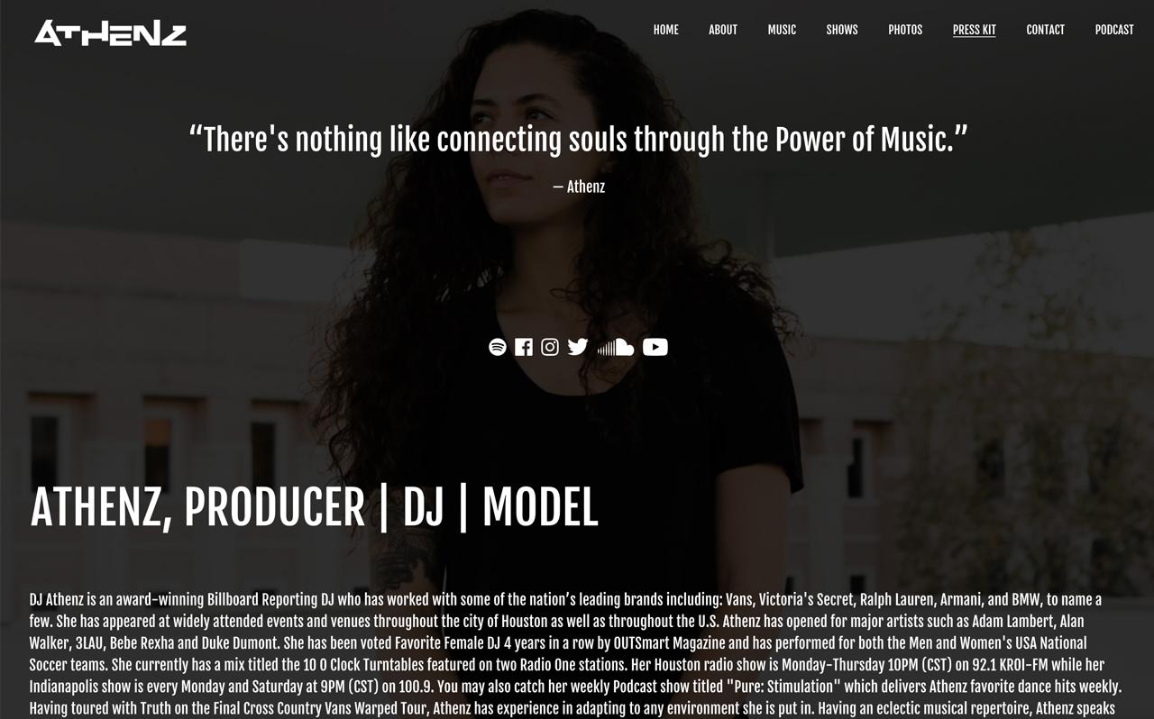 Best DJ websites: DJ Athenz