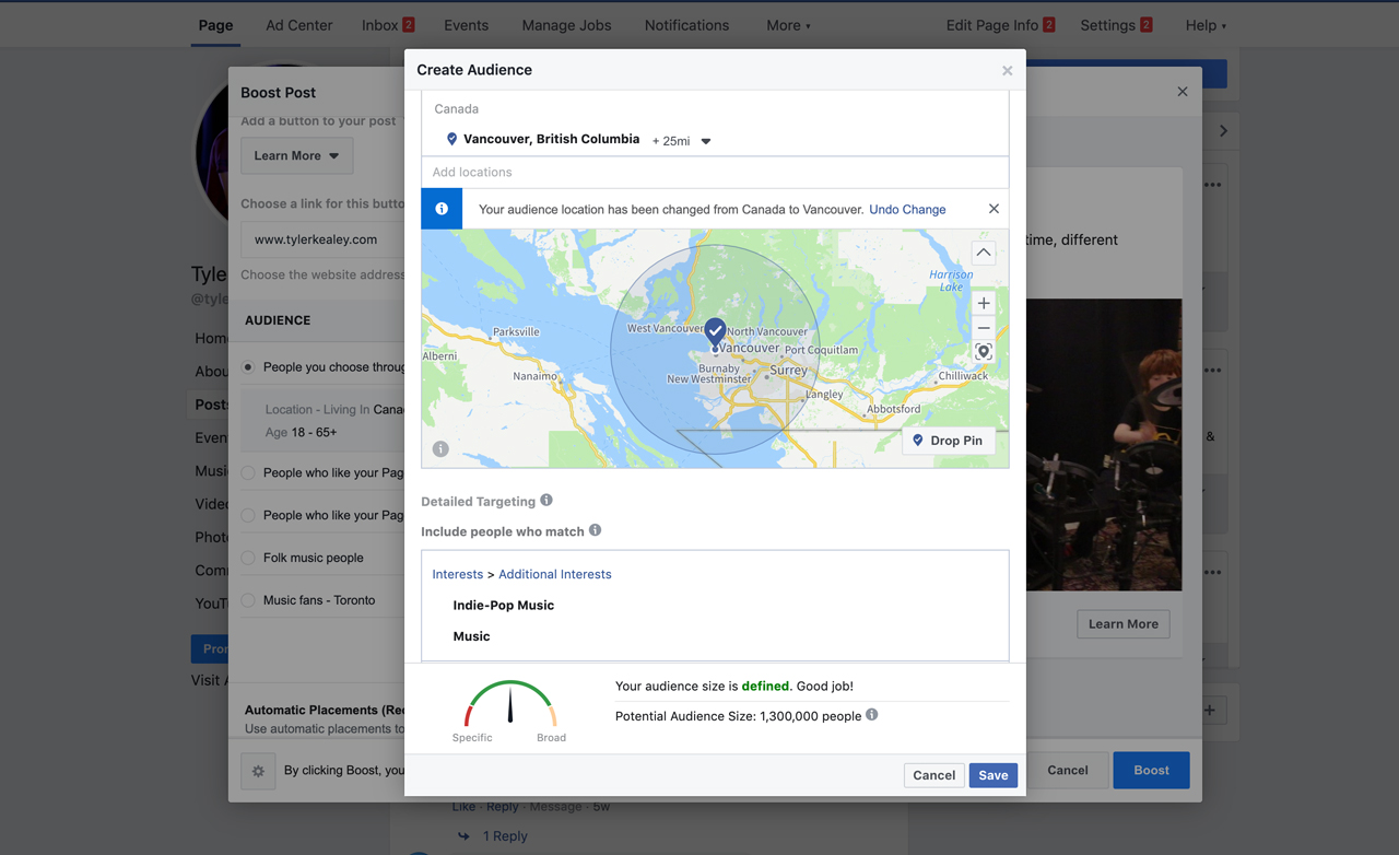 create audience Facebook ads
